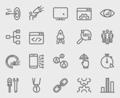 Internet marketing line icons set vector