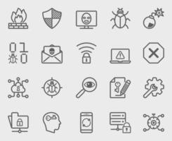 Internet security line icons set vector