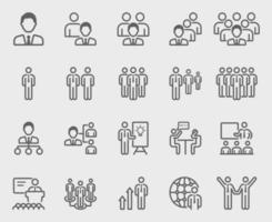 Leadership with team line icons set vector