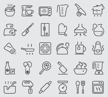 Kitchen Utensils and cooking line icons set vector