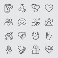 Love line icons set vector