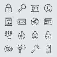 Key and Lock line icons set vector