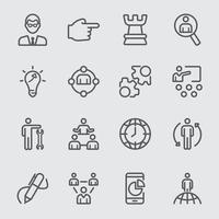 Management line icons set vector