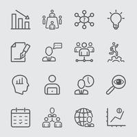 Management workflow line icons set vector