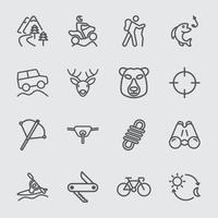 Outdoor adventure line icons set vector