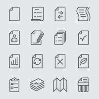 Paper sheet line icons set