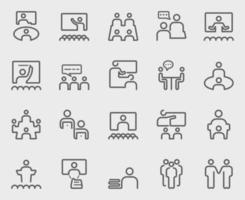 People meeting and Teamwork line icons set vector