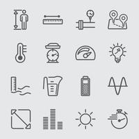 Measurement line icons set vector
