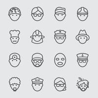 People and Occupation line icons set vector