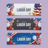Set of Labor Day Greeting Banner