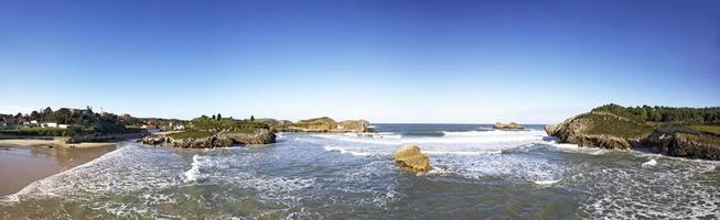 Panoramic view of the beach of Las Camaras in Celorio a village of Asturias, Spain