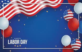 Happy Labor Day Background with Flag and Balloon vector