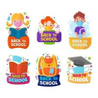 Stickers of School and Education vector