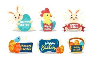 Cute Easter Festivity Stickers vector