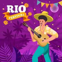 Man Playing Guitar in Rio Festival Event Concept vector