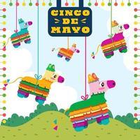 Colección de piñatas de colores colgando en el fondo del parque vector