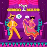 Two Dancers On The Cinco De Mayo Festival vector