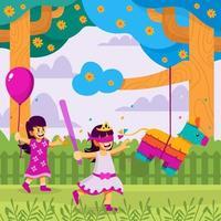 los niños juegan con piñata en cinco de mayo vector