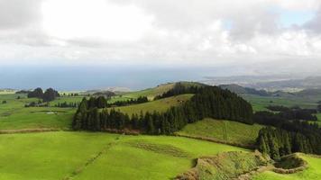 campos verdes idílicos de fazenda. frente aérea. Ilha de São Miguel, Açores