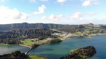 Panoramic of Lagoa Azul, Blue Lake, in Sete cidades, Ponta Delgada, Azores - Pan shot video