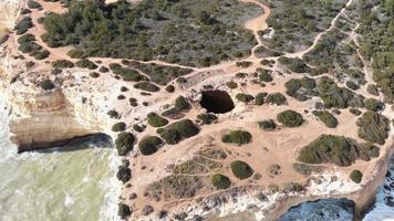 Benagil Cave, Atlantic sea waves washing on the cliffs, Lagoa, Algarve, Portugal video