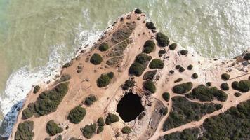 Top view of Benagil Cave and Atlantic sea beach, Lagoa, Algarve, Portugal video