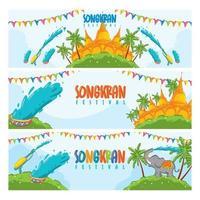 Songkran Festival Banner Concept vector
