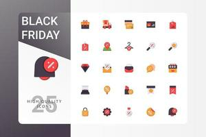 Black Friday icon pack on white background vector
