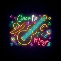 Cinco de Mayo glowing neon sign on dark brick wall background. Mexican festival banner. vector