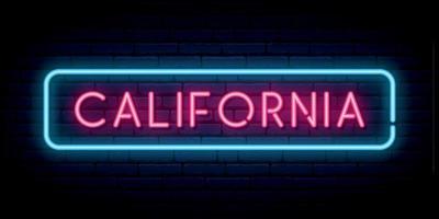 California neon sign. vector