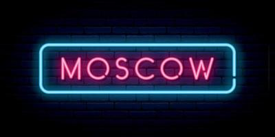 Moscow neon sign. vector