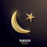 Golden 3d luxury crescent. Greeting banner on Ramadan Kareem. vector