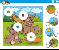 Combina la tarea de piezas con personajes de perros de dibujos animados vector