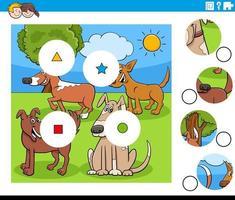 Juego de combinar piezas con personajes de perros de dibujos animados. vector
