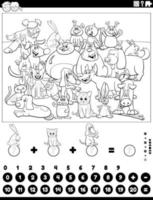 counting and adding game with animals coloring book page vector