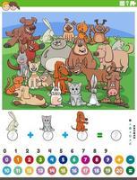 Contando y sumando juegos con animales de dibujos animados. vector