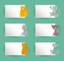 cards design set with cartoon cats and kittens