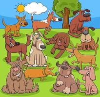 cartoon funny dogs and puppies comic characters group