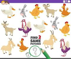 find two same farm animals educational task for kids