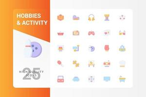 Hobbies And Activity icon pack isolated on white background. for your web site design, logo, app, UI. Vector graphics illustration and editable stroke. EPS 10.