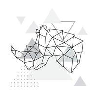 Rhino geometric emblem. Vector illustration of Rhino muzzle in polygonal style.
