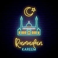 Neon sign of Ramadan Kareem for decoration and covering on the wall background. vector