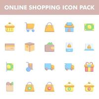 Online shopping icon pack vector