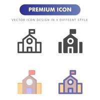 University campus icon pack on white background vector