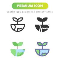 World and plan icon pack on white background vector