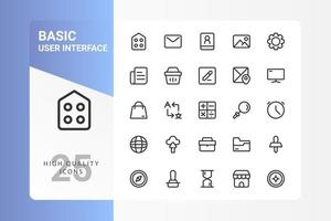 Basic UI icon pack for your web site design, logo, app, UI. Basic UI icon outline design. Vector graphics illustration and editable stroke. EPS 10.