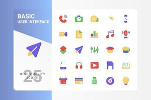 Basic UI icon pack for your web site design, logo, app, UI. Basic UI icon flat design. Vector graphics illustration and editable stroke. EPS 10.