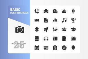 Basic UI icon pack for your web site design, logo, app, UI. Basic UI icon glyph design. Vector graphics illustration and editable stroke. EPS 10.