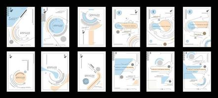 Bundle of Flyer and Poster Cover Design in A4 Size Template Illustration. vector