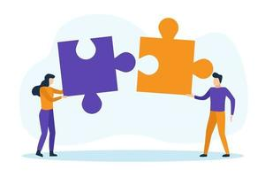 Business people with puzzle pieces vector